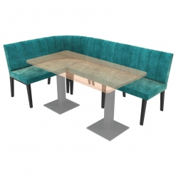 Simplicity Urban Full Back - Right Hand Rounded Corner Free Standing Booth Seating - 2100mm x 1350mm