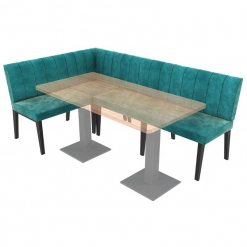 Simplicity Urban Full Back - Large Right Hand Corner Free Standing Booth Seating - 2100mm x 1350mm