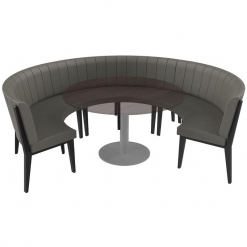 Simplicity Urban Full Back - Round Free Standing Booth Seating - Large 3/4 Circle
