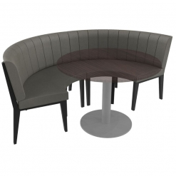 Simplicity Urban Full back- 4 Seater Curved Free Standing Booth - Medium Half Circle