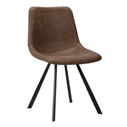 Marcia brown faux leather Side chair nobis restaurant furniture