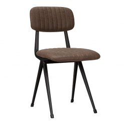 Mort Industrial Faux Leather Ribbed side Chair - Brown Nobis Restaurant Furniture