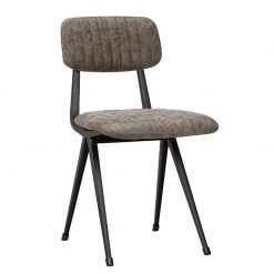 Mort Industrial Faux Leather Ribbed side Chair - Grey Brown Nobis Restaurant Furniture